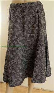Ulla Popken Black Gray Floral Print Skirt A Line (Career, Winter