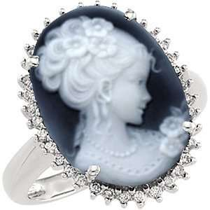 14k White Gold Victorian Woman Black Agate Cameo and Diamond Ring