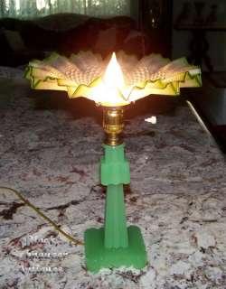 Green Glass ART DECO Lamp w/Green Ruffled Shade