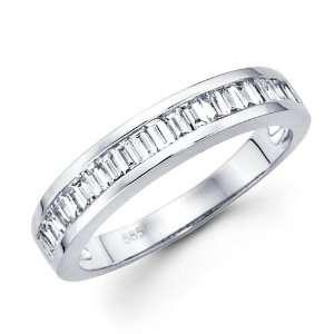Baguette Diamond Wedding Band 14k White Gold Anniversary Ring (1/2 CT