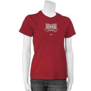Nike Troy University Trojans Ladies Red Team Logo T shirt