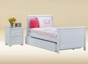 SLEIGH WHITE FINISH WOOD TWIN BED W/ UNDER BED TRUNDLE