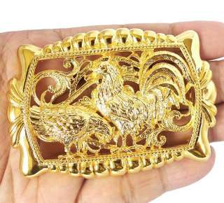 ROOSTER ASIAN CHINESE ZODIAC GOLD BIG BELT BUCKLE NEW