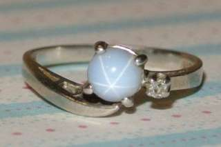 GOLD WHITE STAR SAPPHIRE Diamond RING Antique ESTATE JEWELRY
