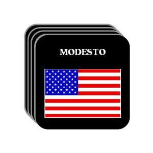 US Flag   Modesto, California (CA) Set of 4 Mini Mousepad