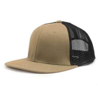 KHAKI TAN BLACK 6 PANEL MESH TRUCKER BASEBALL CAP HAT