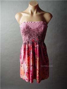 ASIAN Floral Tribal Tattoo Print Smocked Tube Dress M