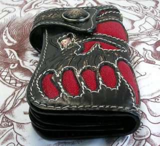 RED DEVIL SKULL TATTOO STINGRAY LEATHER BIKER WALLET