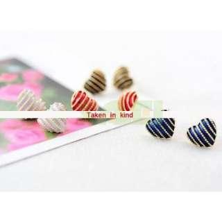 Colors UK Style Stripe Heart Love Earring Ear Nail Pin Gift Accessory