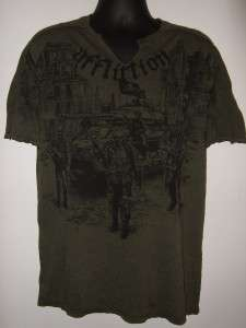 NEW ~ AFFLICTION Mens SKELETON GHOST ARMY Military Green Slit Neck Tee
