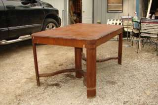 Antique Wood Dining Room Table & Chair Set Hidden Leaf