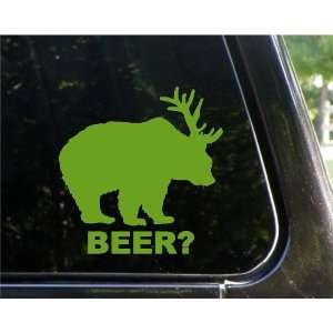 BEAR + DEER  BEER?   Vinyl Decal Sticker 5 LIME GREEN