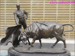 Bronze & Marble matador OX Red cloth Spanish Fighting Bull Toro Bravo