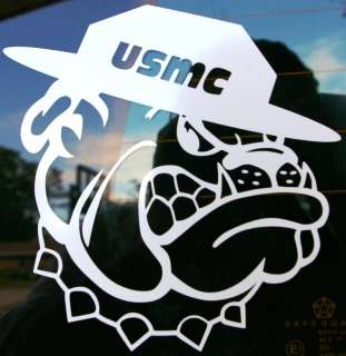 New USMC Marine Corps Bulldog in Campaign Hat 6 x 6 Vinyl Decal