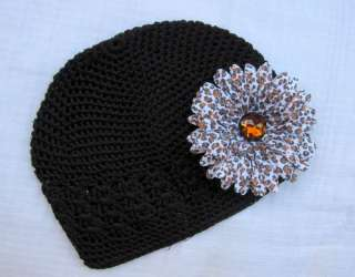 Black Beanie Kufi Hat Cap Cheetah Flower Clip Baby Girl