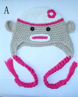 Cute Sock Monkey Ski Style Knit Hat / Beanie / Cap For Baby / Toddler