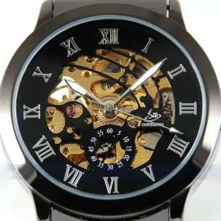 Black Fashion Luxury Titanium Automatic Skeleton Mechanical Mens Wrist