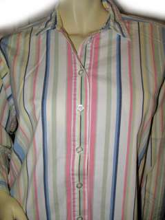 Green Stripes Collared Career Polo Shirt TOP Blouse Large Lrg L