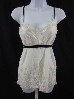SINGLE Silk Ivory Lace Trim Sleeveless Top Shirt Sz P