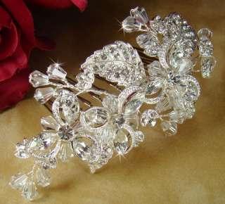 Rhinestone & Crystal Silver Wedding Bridal Hair Comb prom veil clip