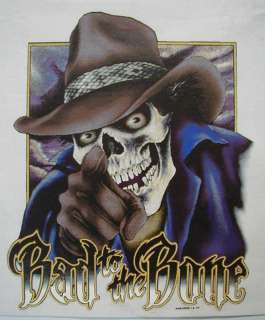 BIKER SKULL BAD TO THE BONE SKULL / COWBOY HAT SHIRT