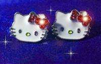 Cute Kitty Red Bow earrings ear studs rings with crystal stones / top
