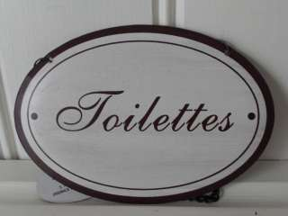 VINTAGE STYLE HANGING METAL SIGNS BATHROOM LOO TOILETTES CHIC