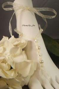 Wedding Beach Bridal Czech Glass & Pearl Ribbon BAREFOOT SANDALS New