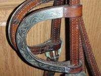 Beautiful Tooled Alamo Barrel Racing Show Horse Bridle Bit Reins Nice