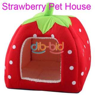 Soft Super Cool Sponge Strawberry Pet Cat Dog House Bed Size