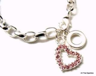Pink Crystal Heart Girls Child Belcher Charm Bracelet