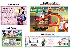 Princess Mulan 2 Mushu Shang ~ Birthday Party Ticket Invitations
