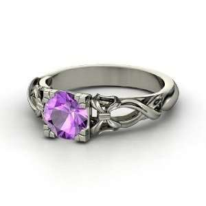 Ribbon Ring, Round Amethyst 14K White Gold Ring Jewelry