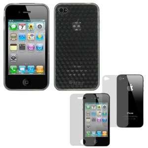 Durable Transparent Black Diamond Soft Gel Skin Cover Case + Clear