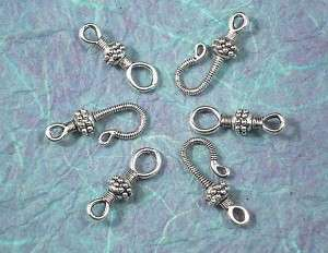 50 Sets Silver Bali Style Hook Eye Closure Clasps P123