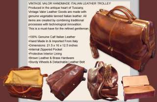 VINTAGE VALOR ITALIAN LEATHER WHEELED TRAVEL BAG DUFFEL TROLLEY
