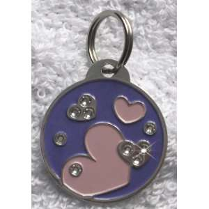 Hearts Charm Crystal Bling Dog Cat Pet Collar ID Tag