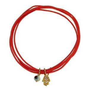 Traditional Evil Eye Charm Bracelet Gold Plated Lucky Eye and a Hamsa