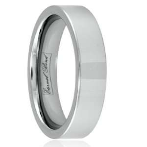 SENUS II 6mm Tungsten Carbide Flat Polished Wedding Band Ring (Size 6)