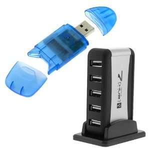 GTMax Vertical Stand High Speed USB 2.0 7 Port Hub + Blue USB