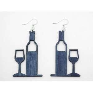 Evening Blue Wine Bottle And Glass Wooden Earrings GTJ