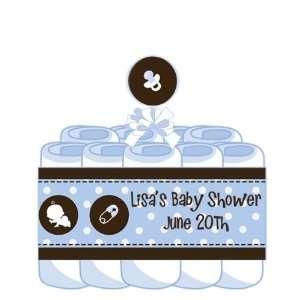 Modern Baby Boy Blue Polka Dots Diaper Cake Baby