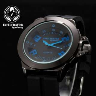 INFILTRATOR ARMY MILITARY BLACK RUBBER MENS WATCH BIG 47MM + GIFT BOX
