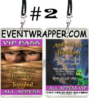 Rapunzel Ticket Birthday Party Invitations VIP Pass Favors