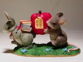 Charming Tails ~ Teachers Pets 97 ~ mice with books and apple