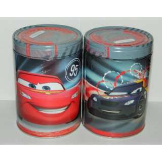 Cars 2 ONE Large Round Illustrated Tin Coin Bank Style A, NEW UNUSED