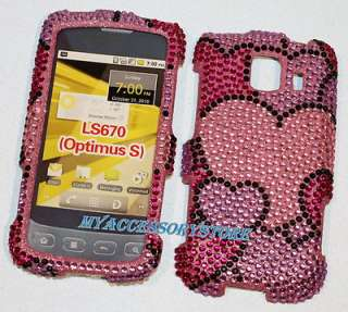 LG LS670 Sprint Optimus S Pink & Purple Hearts Glitter Bling Phone