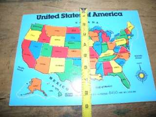 Vintage Wooden USA United States Map Jigsaw Puzzle in good used