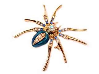 Spider Tarantula GP Pin Brooch Blue Swarovski Crystal for Halloween