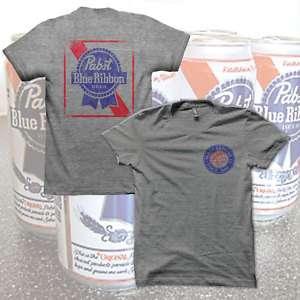 GREY PABST BLUE RIBBON T Shirt PBR BEER Logo Size S 5XL